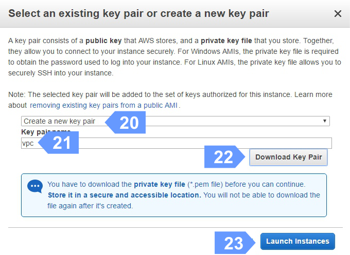How to create a key pair for Amazon Cloud Instance