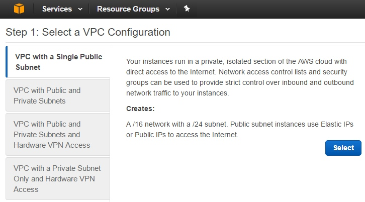 VPC with a Single Public Subnet is what you need for your Private Cloud