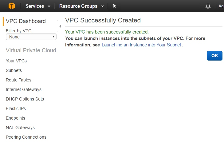 VPC successfully created