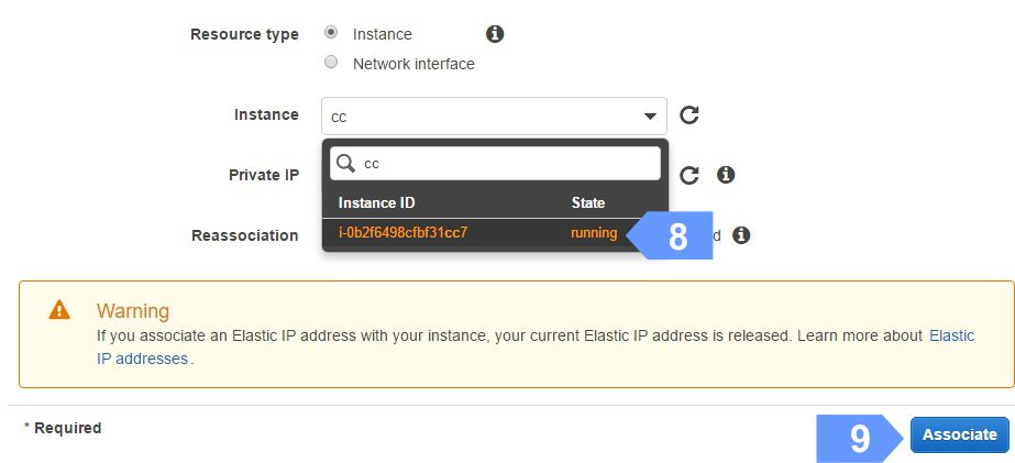 How to associate Elastic IP address with EC2 Instance
