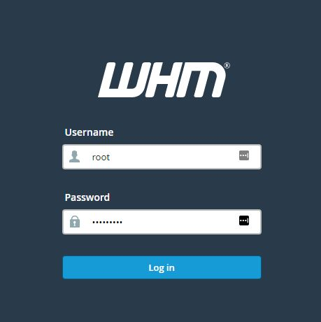 Cloud WHM login window