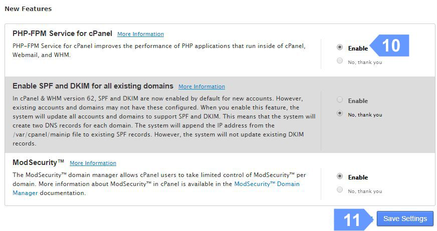 Enable PHP-FPM for better performance of your cloud server.